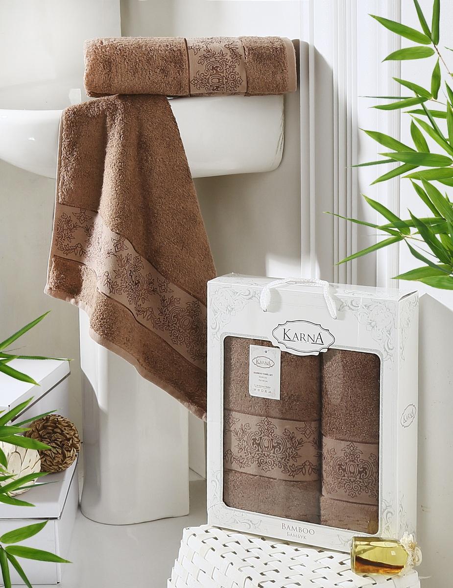 Набор полотенец Karna Pandora, цвет: коричневый, 2 шт2197/CHAR008