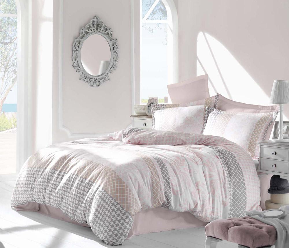 Комплект белья Altinbasak Risha, 2-спальный, наволочки 50х70, цвет: розовый256/27/CHAR002