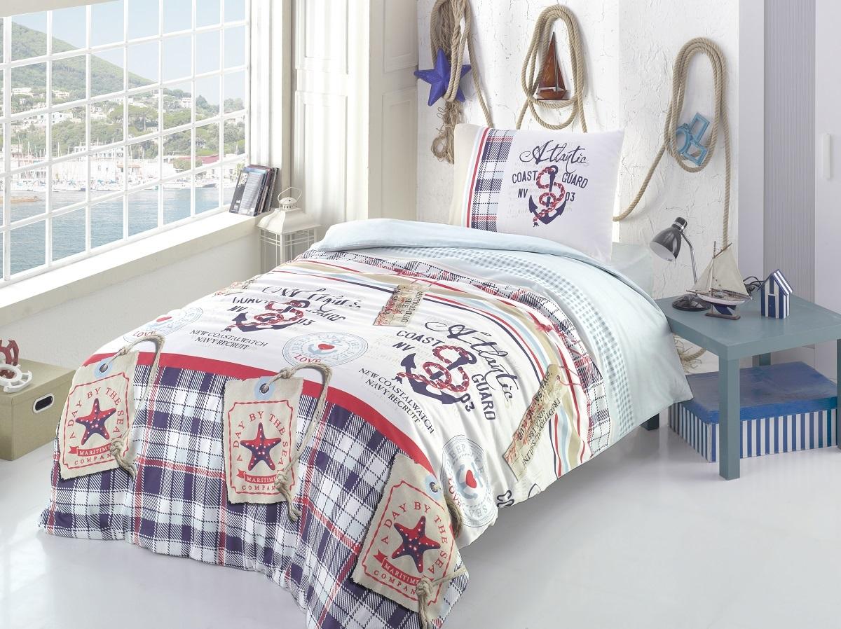 Комплект белья Altinbasak Atlantic, 1,5-спальный, наволочки 50х70, цвет: голубой296/7/CHAR001