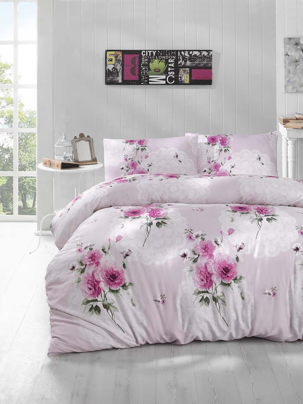 Комплект белья Altinbasak Ela, 2-спальный, наволочки 50х70, цвет: сиреневый297/14/CHAR003