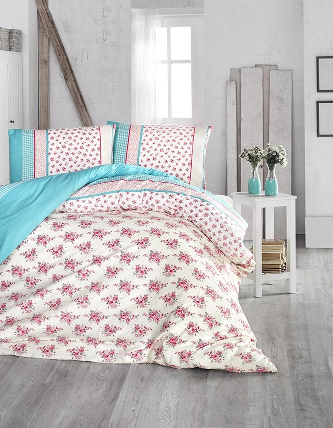 Комплект белья Altinbasak Ahsen, 2-спальный, наволочки 50х70, цвет: бирюзовый297/1/CHAR001