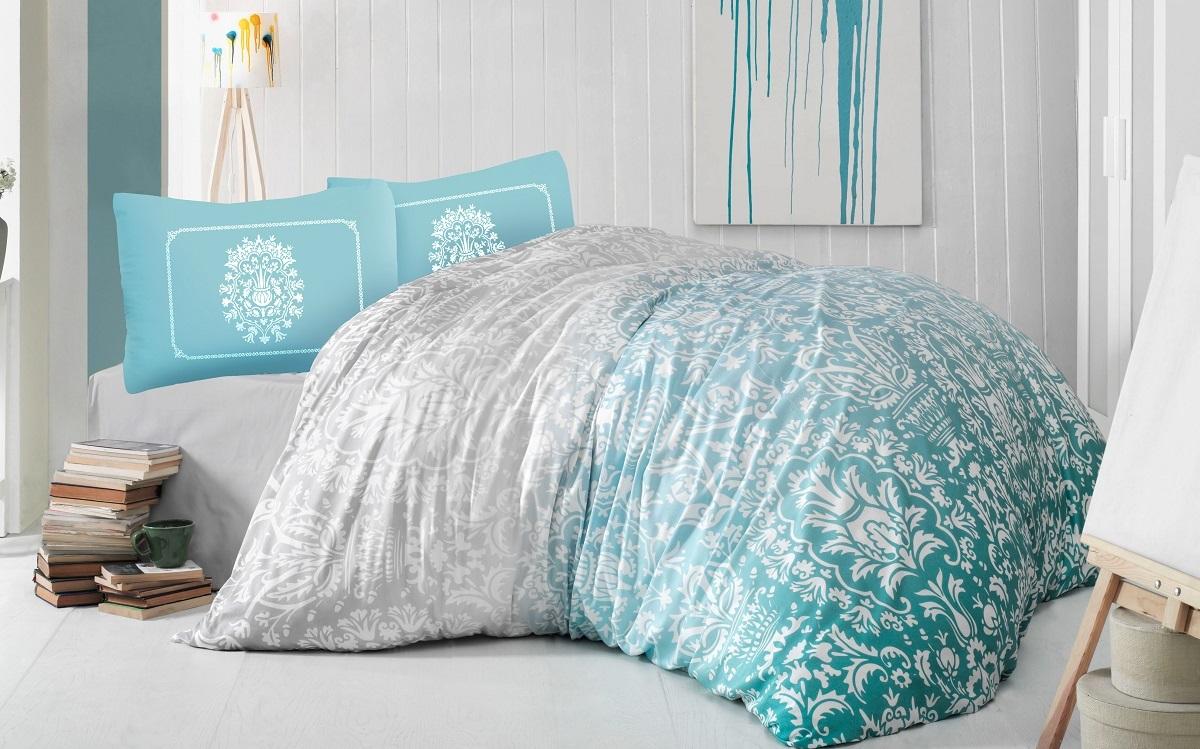 Комплект белья Altinbasak Vizyon, 2-спальный, наволочки 50х70, цвет: бирюзовый297/39/CHAR001