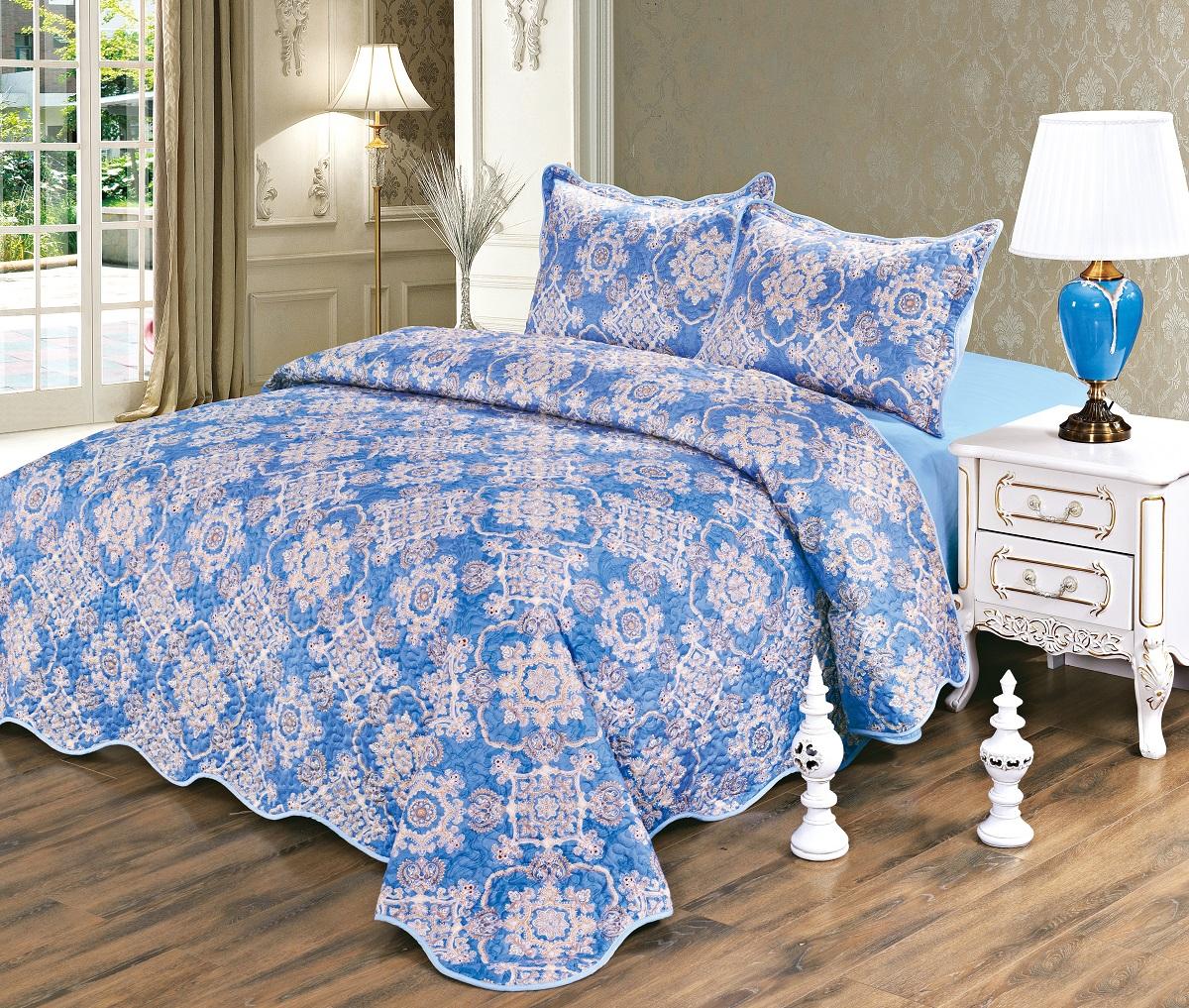 Комплект для спальни Karna Gretal: покрывало 230 х 250 см, 2 наволочки 50 х 70 см, цвет: zumrut6002