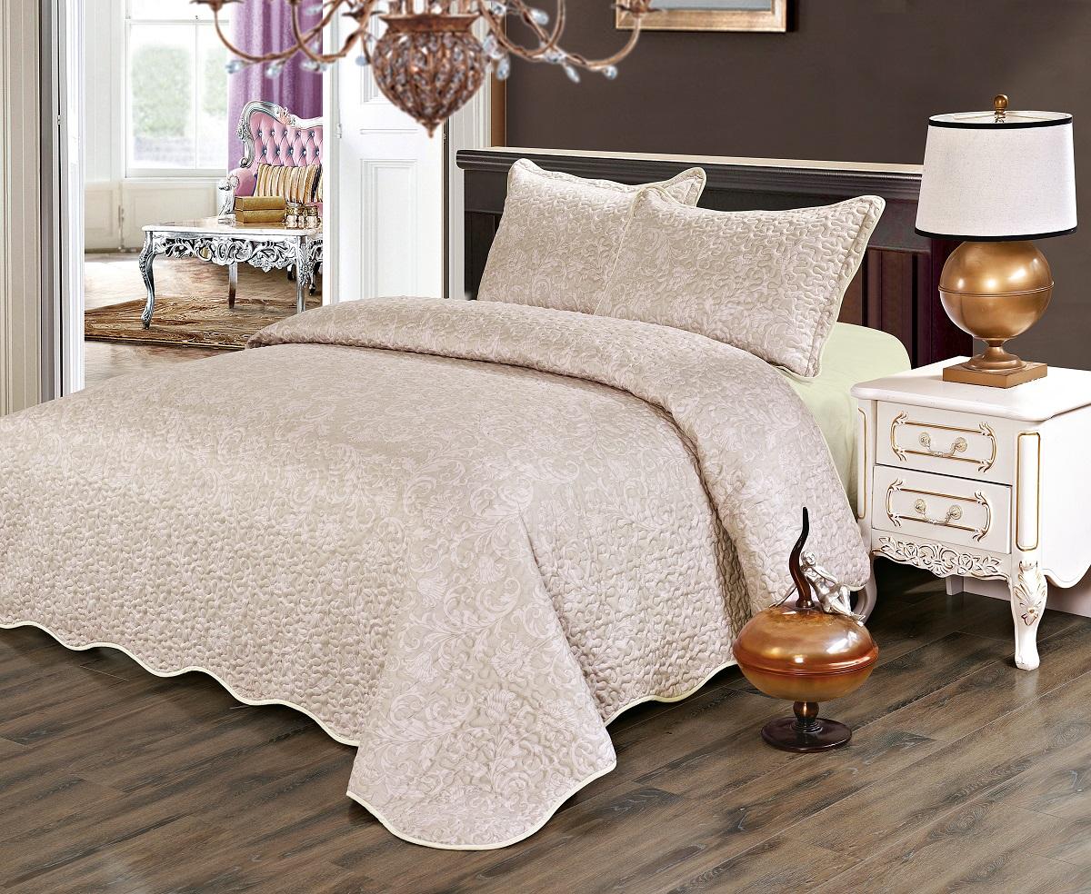 Комплект для спальни Karna Gretal: покрывало 230 х 250 см, 2 наволочки 50 х 70 см, цвет: ruzgar6003