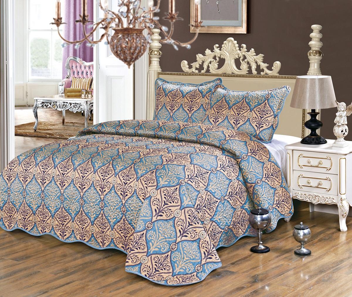 Комплект для спальни Karna Gretal: покрывало 230 х 250 см, 2 наволочки 50 х 70 см, цвет: sultan6005