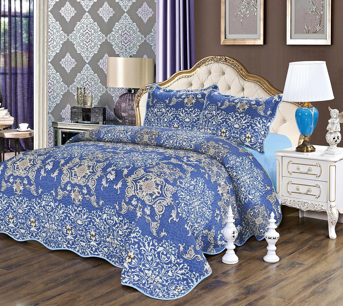 Комплект для спальни Karna Gretal: покрывало 230 х 250 см, 2 наволочки 50 х 70 см, цвет: royal6006