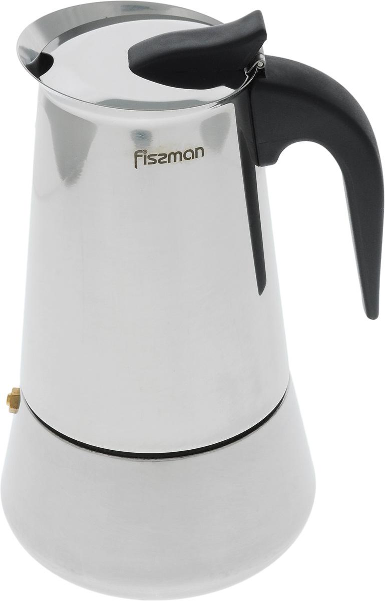 Кофеварка гейзерная Fissman, на 9 порций, 550 млEM-9412.9Компактная гейзерная кофеварка Fissman изготовлена из высококачественной нержавеющей стали. Объема кофеварки хватает на 9 чашек. Изделие оснащено удобной ручкой из термостойкого пластика. Принцип работы такой гейзерной кофеварки: кофе заваривается путем многократного прохождения горячей воды или пара через слой молотого кофе. Удобство кофеварки в том, что вся кофейная гуща остается во внутренней емкости. Гейзерные кофеварки пользуются большой популярностью благодаря изысканному аромату. Кофе получается крепким и насыщенным. Теперь и дома вы сможете насладиться великолепным эспрессо. Подходит для газовых, индукционных, электрических и стеклокерамических плит. Диаметр кофеварки (по верхнему краю): 8,5 см. Высота (с учетом крышки): 21 см.