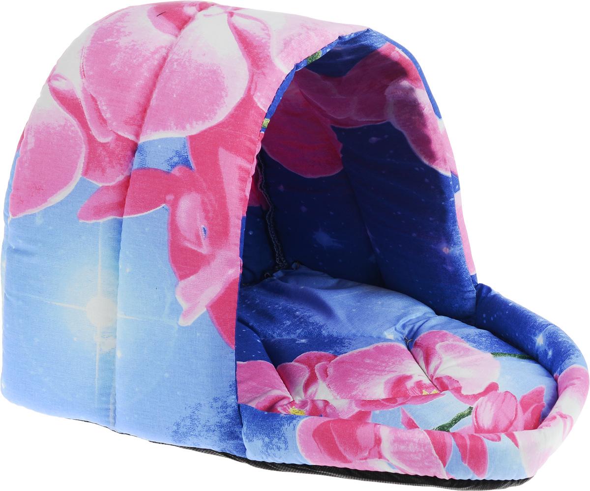 Лежак для животных Elite Valley Люлька, цвет: синий, розовый, белый, 37 х 28 х 28 см, Л-11/2Л11/2 Лежак полузакрытый люлька _ орхидея на синем, материал бязь, поролонЛежак Elite Valley Люлька непременно станет любимым местом отдыха вашего домашнего животного. Изделие выполнено из бязи и нетканого материала, а наполнитель - из поролона. Такой материал не теряет своей формы долгое время. Внутри имеется мягкая съемная подстилка. На таком лежаке вашему любимцу будет мягко и тепло. Он подарит вашему питомцу ощущение уюта и уединенности, а также возможность спрятаться.