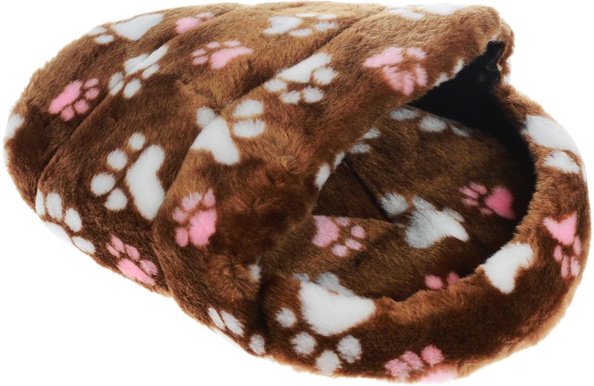 Лежак для животных Elite Valley Тапок, цвет: светло-коричневый, белый, розовый, 45 х 32 х 20 смЛ-29/1_светло-коричневый, лапки белые и розовыеЛежак Elite Valley Тапок непременно станет любимым местом отдыха вашего домашнего животного. Изделие выполнено из искусственного меха, текстиля и нетканого материала, а наполнитель - из поролона. Такой материал не теряет своей формы долгое время. Внутри имеется мягкая съемная подстилка. На таком лежаке вашему любимцу будет мягко и тепло. Он подарит вашему питомцу ощущение уюта и уединенности, а также возможность спрятаться.