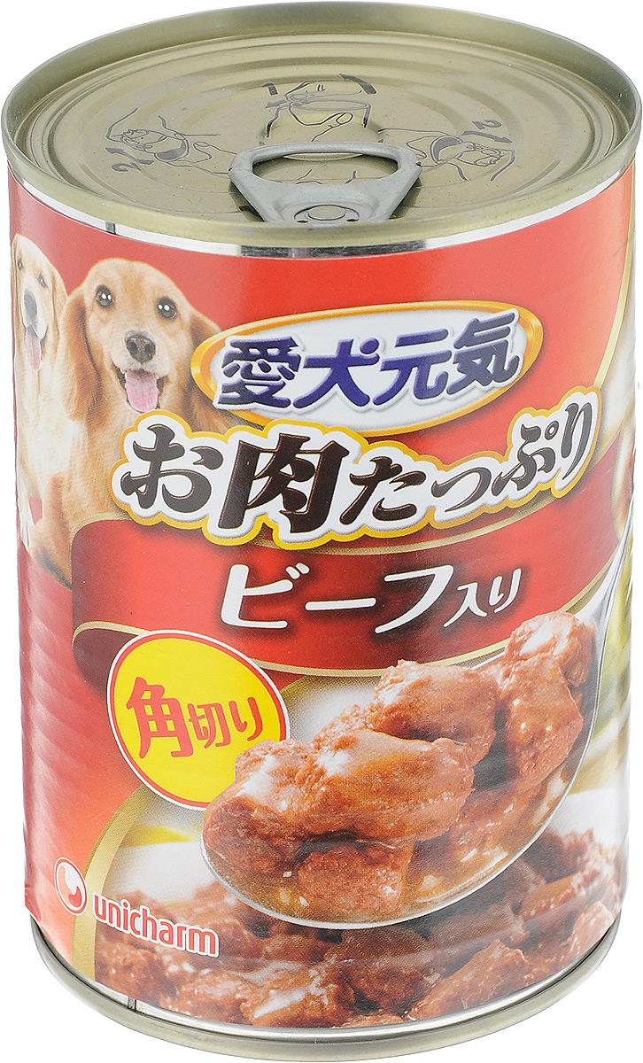 Консервы для собак Unicharm Aiken Genki, с говяжьим гуляшом, 400 г671139Консервы для собак Unicharm Aiken Genki - это сбалансированное высококачественное питание для собак. Аппетитные сочные кусочки говядины и овощей в тающем соусе произведены с сохранением всех свойств натуральных продуктов, содержат комплекс питательных веществ и микроэлементов, необходимых для полноценного развития вашего четвероногого друга. Корм полностью удовлетворяет ежедневные энергетические потребности взрослого животного и обеспечивает оптимальное функционирование пищеварительной системы. Состав: курица, говядина, куриный экстракт, морковь, картофель, зеленый горошек, пшеничная мука, приправа, глюкоза, ксилоза, витамины и минералы (В1, В2, В6, D, E, кальций, хлор, калий, натрий, фосфор), стабилизатор (гуаровая камедь), консервант (нитрит натрия), красители (диоксид титана, оксид железа). Пищевая ценность (на 100 г): белки - 5%, липиды - 4%, клетчатка - 1,5%, зола - 4%, влажность - 85%, энергетическая ценность 95 ккал. Товар сертифицирован.