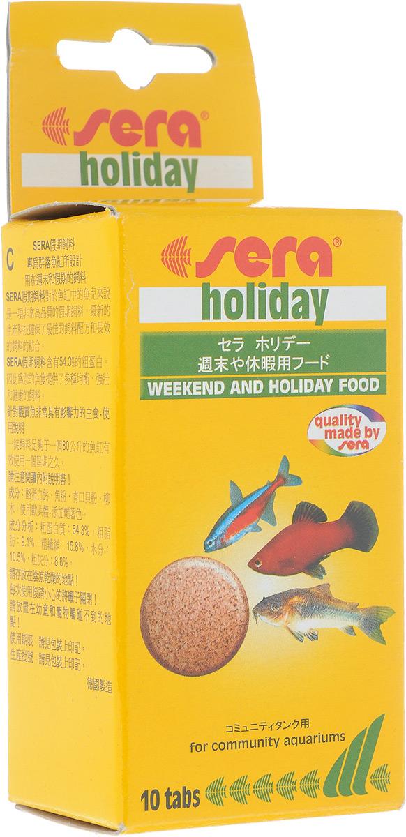Корм для рыб Sera Holiday, 10 таблеток0990Богатый белком, корм «выходного дня» для аквариумных рыб - идеальный корм, предназначенный для кормления ваших рыб в ваше отсутствие! Благодаря инновационному методу производства эти высококачественные, питательные кормовые таблетки не разлагаются в воде на протяжении периода до 7 дней. Ценные ингредиенты высовобождаются из sera holiday постепенно, слой за слоем. Отборные составляющие, включающие в себя высококачественный протеин и необходимые минералы, гарантируют хорошую поедаемость корма всеми декоративными рыбами в общих аквариумах. Инструкция по применению: Разместить на открытом участке грунта в аквариуме соответствующее количество таблеток (см. таблицу). Таблетки размокают постепенно. Таким образом, свежий корм находится в распоряжении рыб, не загрязняя воду, в течение нескольких дней. Перед долгим отсутствием обязательно убедитесь в высоком качестве воды в аквариуме. Ингредиенты: казеинат кальция, рыбная мука, зеленые мидии, кора ивы. Содержит пищевые красители допустимые в...