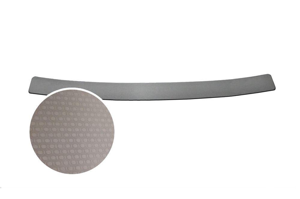 """Накладка на задний бампер Rival для Renault Sandero 2014-, 1 штNB.4702.1Накладка на задний бампер RIVAL Накладка на задний бампер защищает лакокрасочное покрытие от механических повреждений и создает индивидуальный внешний вид автомобиля - Использование высококачественной итальянской нержавеющей стали AISI 304. - Надежная фиксация на автомобиле с помощью """"фирменного"""" скотча 3М. - Рельефный рисунок накладки придает автомобилю индивидуальный внешний вид. - Идеально повторяют геометрию бампера автомобиля. Уважаемые клиенты! Обращаем ваше внимание, что накладка имеет форму и комплектацию, соответствующую модели данного автомобиля. Фото служит для визуального восприятия товара."""