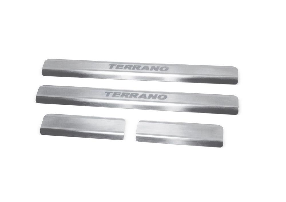 """Накладки на пороги Rival для Nissan Terrano 2014-, 4 штNP.4115.3Накладки на пороги RIVAL Накладки на пороги создают индивидуальный интерьер автомобиля и защищают лакокрасочное покрытие от механических повреждений - Использование высококачественной итальянской нержавеющей стали AISI 304. - Надежная фиксация на автомобиле с помощью """"фирменного"""" скотча 3М. - Устойчивое к истиранию изображение на накладках нанесено методом абразивной полировки. - Идеально повторяют геометрию порогов автомобиля. Уважаемые клиенты! Обращаем ваше внимание, что накладки имеют форму и комплектацию, соответствующую модели данного автомобиля. Фото служит для визуального восприятия товара."""