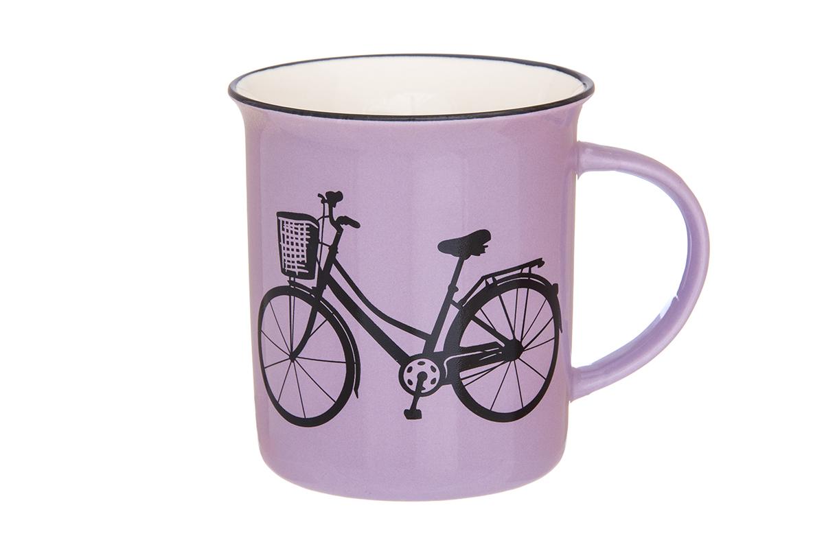Кружка Elan Gallery Велосипед, цвет: сиреневый, 320 мл130005Фарфоровая кружка классической формы объемом 320 мл с удобной ручкой. Подходят для любых горячих и холодных напитков, чая, кофе, какао.