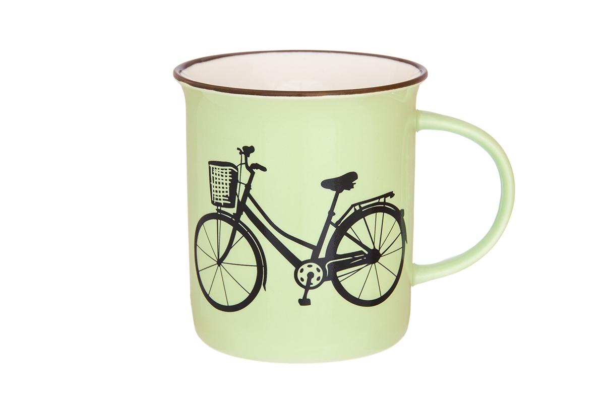 Кружка Elan Gallery Велосипед, цвет: салатовый, 320 мл130008Фарфоровая кружка классической формы объемом 320 мл с удобной ручкой. Подходят для любых горячих и холодных напитков, чая, кофе, какао.