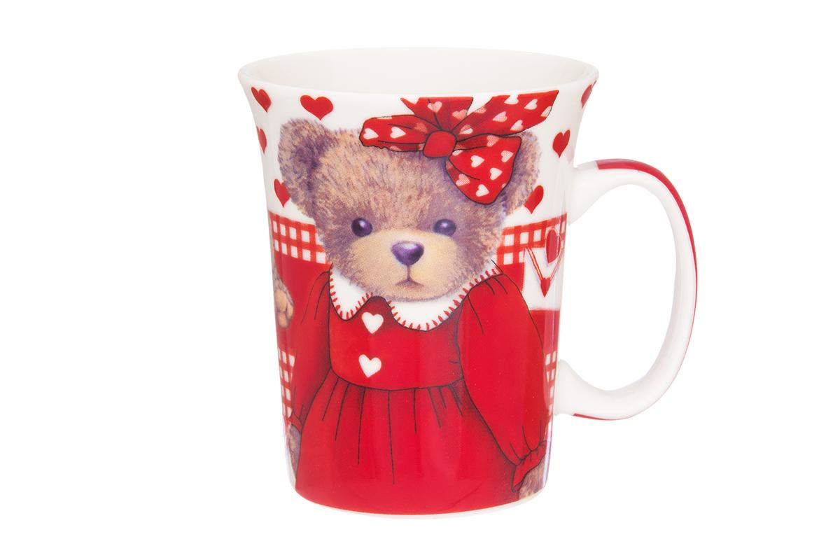 Кружка Elan Gallery Мишка в платье, цвет: красный, 300 мл410048Кружка классической формы объемом 300 мл с удобной ручкой. Подходят для любых горячих и холодных напитков, чая, кофе, какао. Изделие имеет подарочную упаковку, поэтому станет желанным подарком для любимого человека и друга!