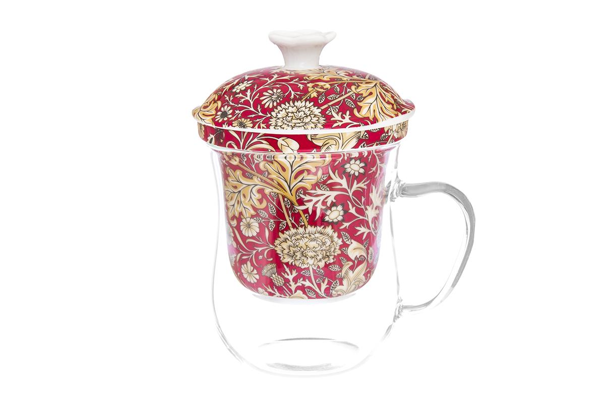 Кружка Elan Gallery New Bone China. Цветы, с ситом, 400 мл420126Кружка из стекла для заваривания чая. В комплекте кружка, крышка, фарфоровое сито. Изделие имеет подарочную упаковку, поэтому станет желанным подарком для Ваших близких! Не рекомендуется применять абразивные моющие средства. Объем кружки: 400 мл.
