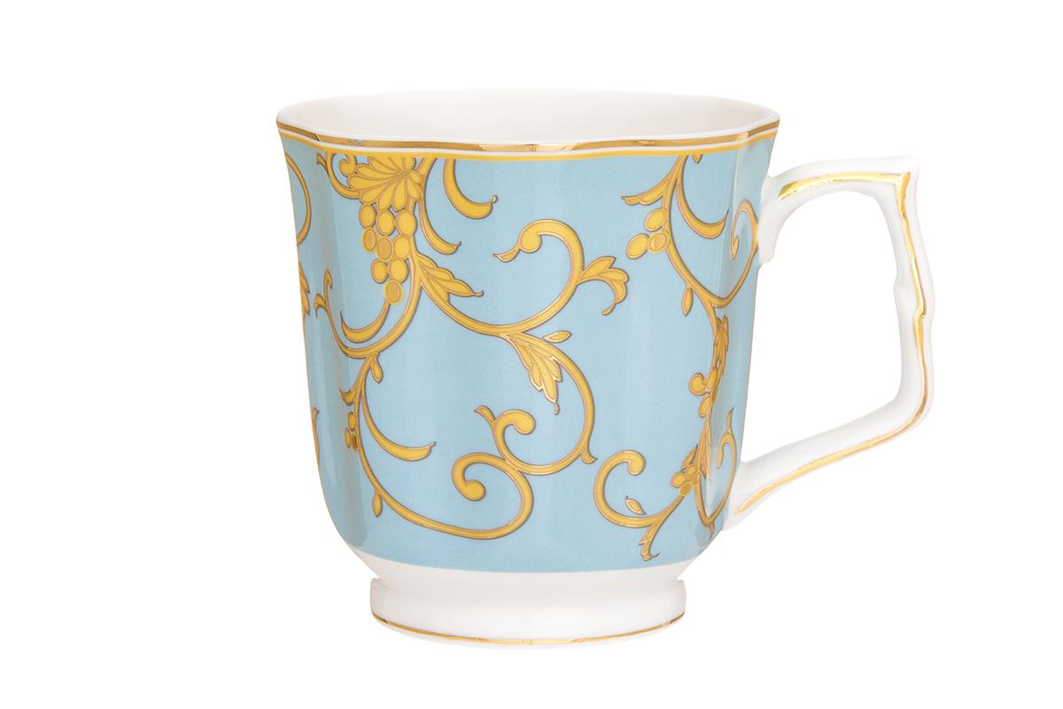 Кружка Elan Gallery Королевский узор, цвет: голубой, 340 мл504145Кружка в подарочной упаковке станет прекрасным подарком и послужит верой и правдой в повседневной жизни. Изделие имеет подарочную упаковку, поэтому станет желанным подарком для Ваших близких!