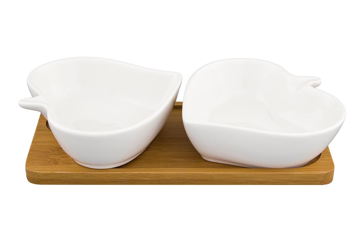 Набор блюд Elan Gallery Листья, на подставке, 2 предмета540146Набор из двух блюд на деревянной подставке украсит современный интерьер и станет отличным подарком для любителей стильных вещей. Размер подставки: 20,5 х 10,5 х 4 см. Объем блюда: 140 мл.