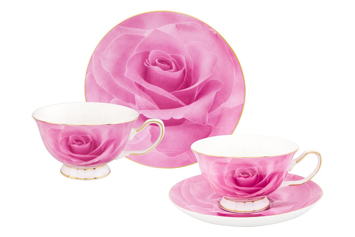 Набор чайный Elan Gallery Роза, цвет: розовый, 4 предмета730606Шикарная чайная пара на 2 персоны в нежных тонах украсит ваше чаепитие. В комплекте 2 чашки на ножке объемом 200 мл, 2 блюдца. Изделие имеет прозрачную подарочную упаковку, поэтому станет желанным подарком для ваших близких, коллег и друзей!