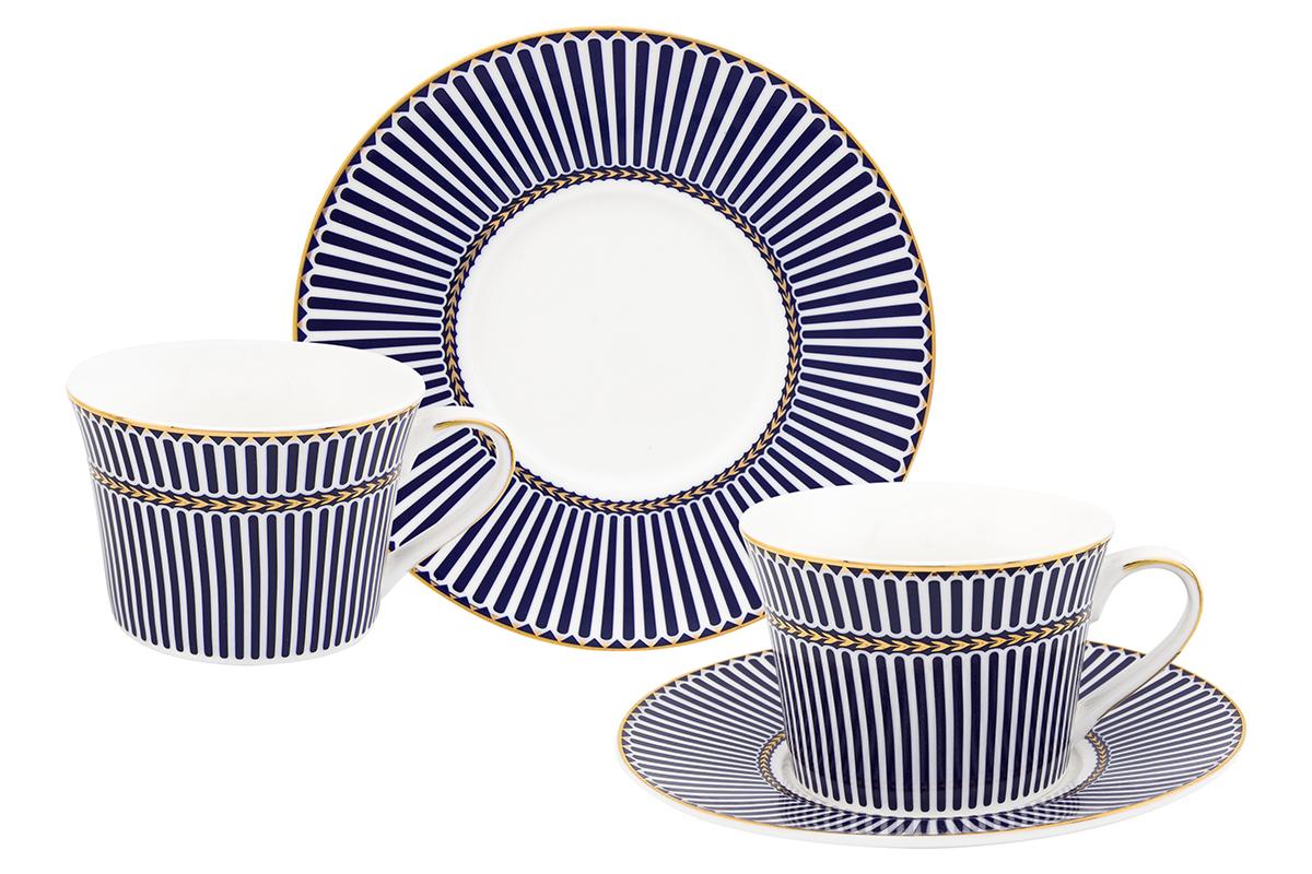 Набор чайный Elan Gallery Полоски, цвет: синий, 4 предмета730612Чайная пара на 2 персоны в оригинальном дизайне украсит ваше чаепитие. В комплекте 2 чашки объемом 210 мл, 2 блюдца. Изделие имеет прозрачную подарочную упаковку, поэтому станет желанным подарком для ваших близких, коллег и друзей!