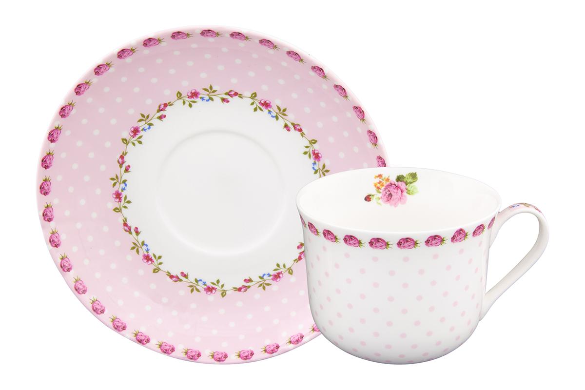 Чайная пара Elan Gallery Горошек с розами, цвет: розовый, 2 предмета730620Чайная пара на 1 персону в нежных тонах украсит ваше чаепитие. В комплекте 1 чашка на ножке объемом 440 мл, 1 блюдце. Изделие имеет прозрачную подарочную упаковку с бантиком, поэтому станет желанным подарком для ваших близких, коллег и друзей!