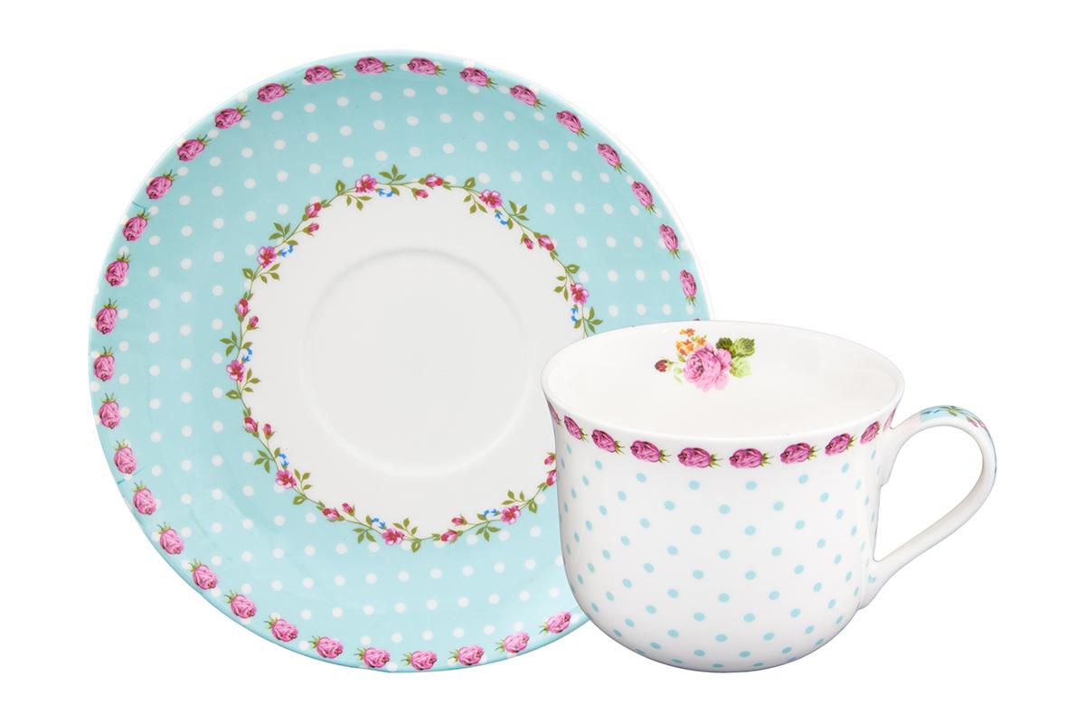 Чайная пара Elan Gallery Горошек с розами, цвет: бирюзовый, 2 предмета730621Чайная пара на 1 персону в нежных тонах украсит ваше чаепитие. В комплекте 1 чашка на ножке объемом 440 мл, 1 блюдце. Изделие имеет прозрачную подарочную упаковку с бантиком, поэтому станет желанным подарком для ваших близких, коллег и друзей!