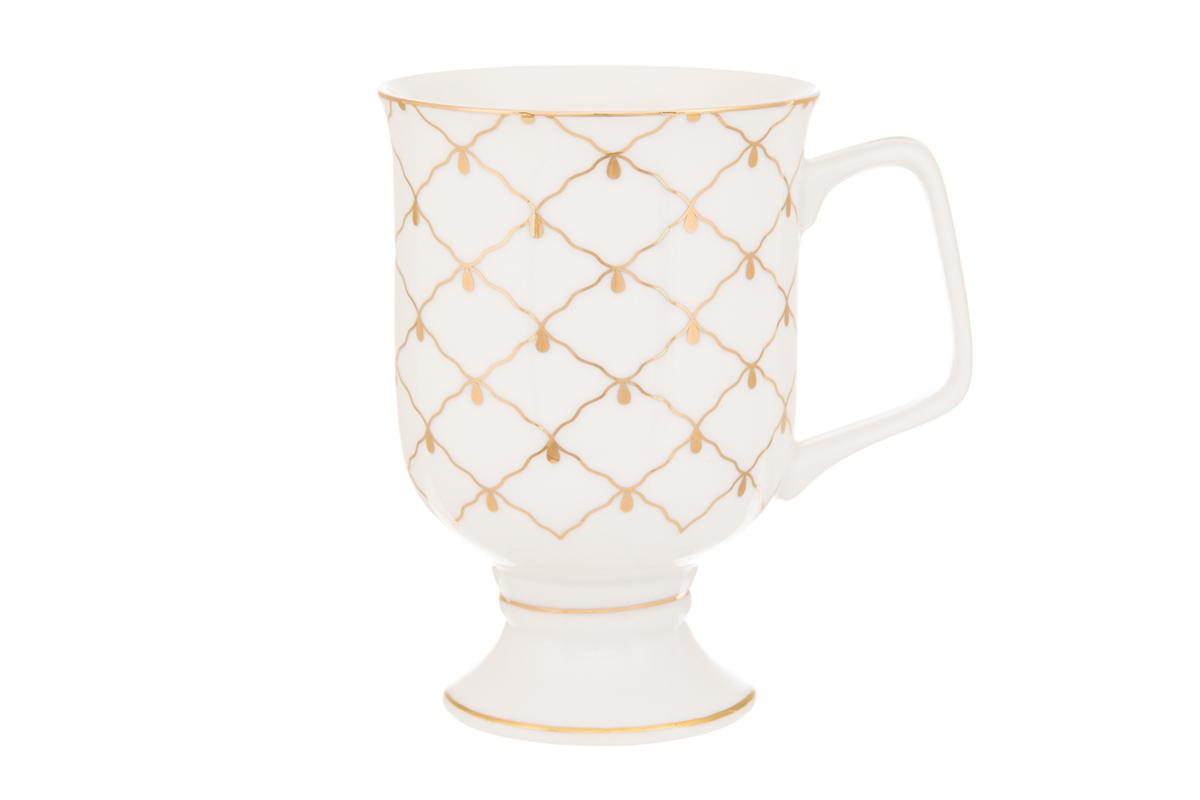 Кружка кофейная Elan Gallery Сетка, цвет: золотой, 380 мл730636Кружка станет отличным дополнением к сервировке семейного стола и замечательным подарком для ваших родных и друзей. Размер 12х8,5х12,5 см. Объем 380 мл.