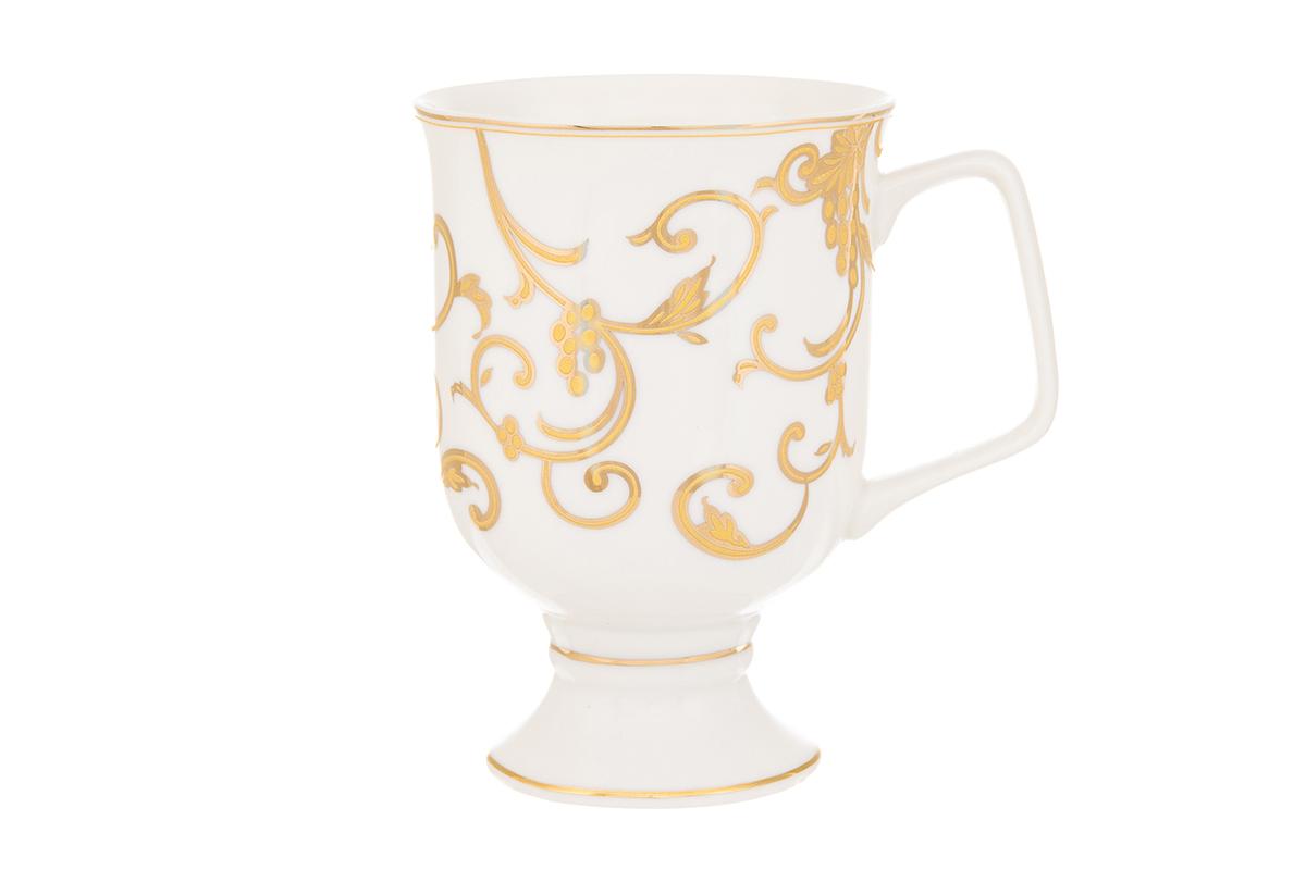 Кружка кофейная Elan Gallery Королевский узор, 380 мл730637Кружка станет отличным дополнением к сервировке семейного стола и замечательным подарком для ваших родных и друзей. Размер 12х8,5х12,5 см. Объем 380 мл.