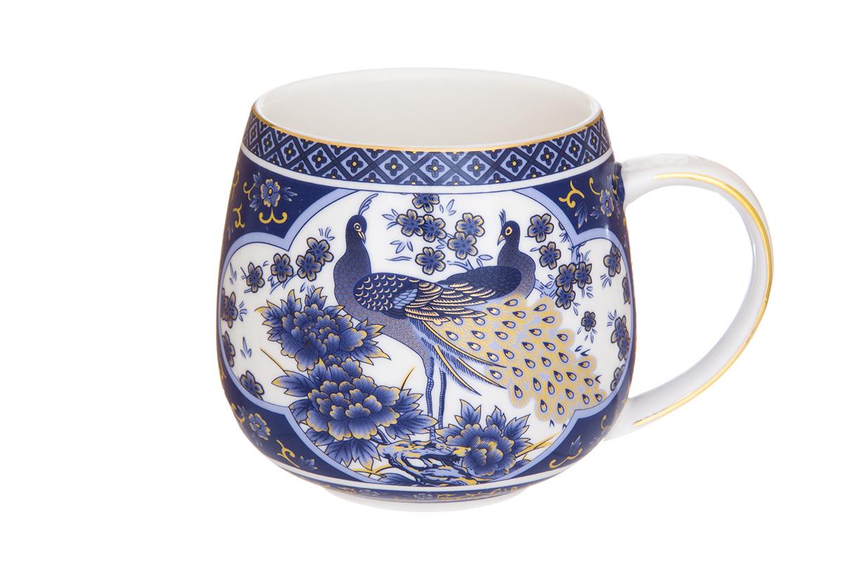 Кружка Elan Gallery Павлин, цвет: синий, 400 мл730643Кружка станет отличным дополнением к сервировке семейного стола и замечательным подарком для ваших родных и друзей. Размер 12,5х9,5х8,5 см. Объем 400 мл.