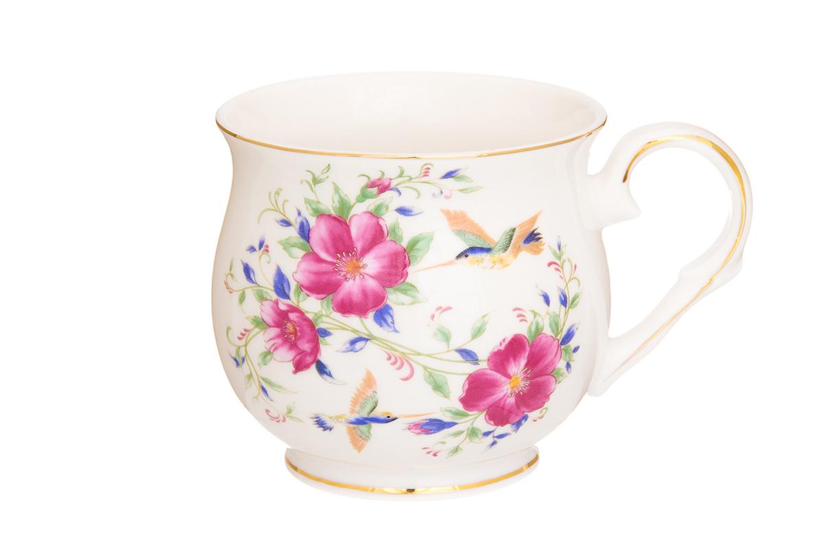 Кружка Elan Gallery Колибри и шиповник, цвет: розовый, 480 мл730654Большая кружка выполненная из фарфора, станет оригинальным подарком! Идеальна для тех, кто предпочитает большие кружки и для любителей чая, кофе. Размер 13,5х10х9 см. Объем 480 мл.