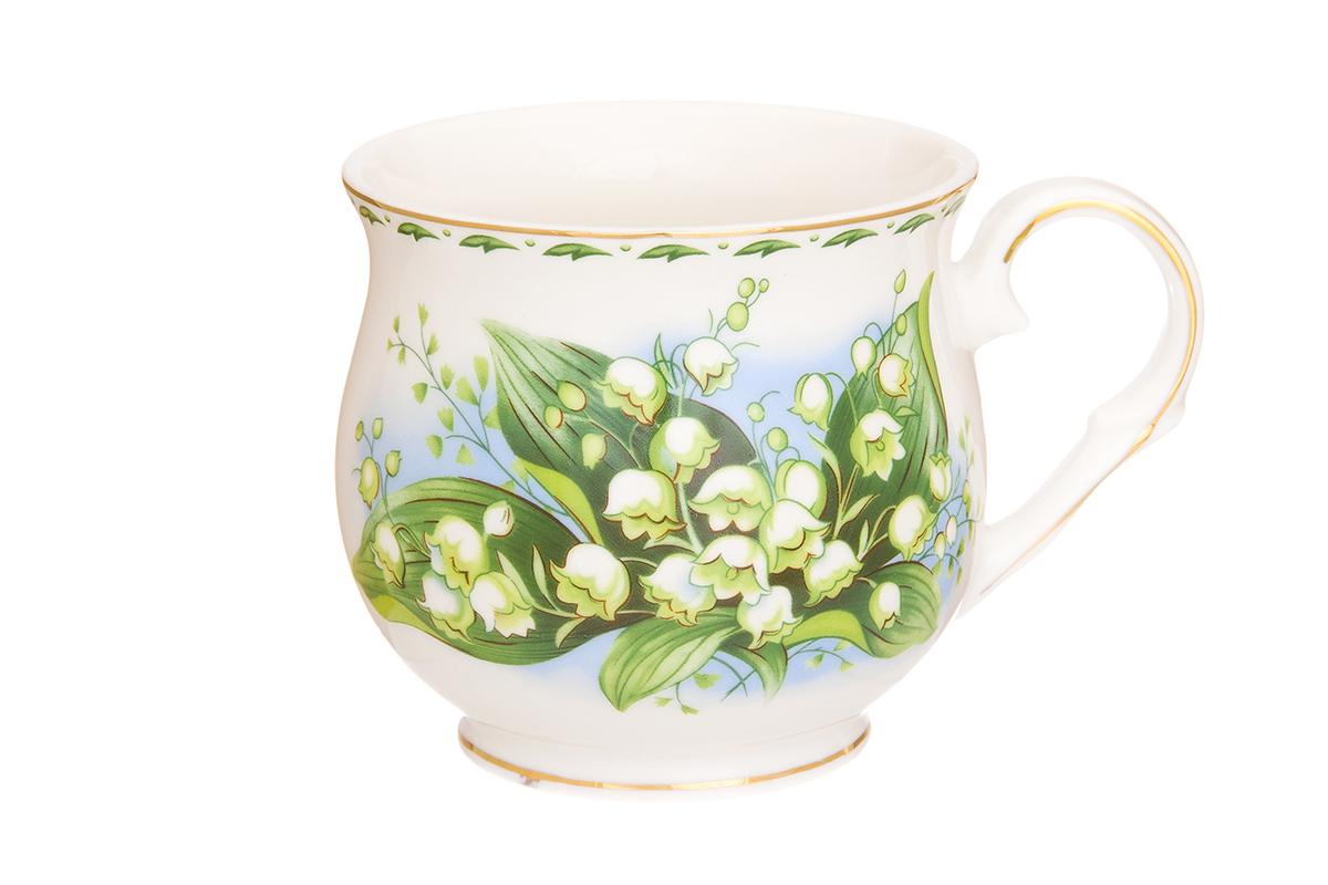Кружка Elan Gallery Ландыши, 480 мл730657Большая кружка выполненная из фарфора, станет оригинальным подарком! Идеальна для тех, кто предпочитает большие кружки и для любителей чая, кофе. Размер 13,5х10х9 см. Объем 480 мл.