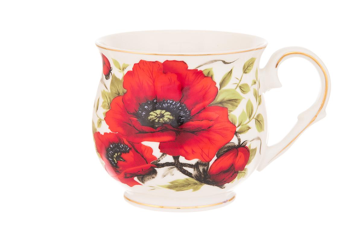 Кружка Elan Gallery Маки, 480 мл730658Большая кружка выполненная из фарфора, станет оригинальным подарком! Идеальна для тех, кто предпочитает большие кружки и для любителей чая, кофе. Размер 13,5х10х9 см. Объем 480 мл.