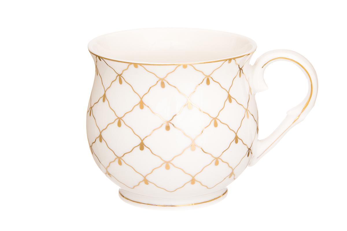 Кружка Elan Gallery Сетка, цвет: золотой, 480 мл730659Большая кружка выполненная из фарфора, станет оригинальным подарком! Идеальна для тех, кто предпочитает большие кружки и для любителей чая, кофе. Размер 13,5 х 10 х 9 см. Объем 480 мл.
