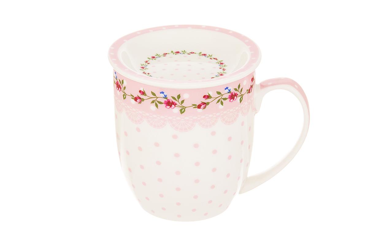 Кружка Elan Gallery Горошки с кружевом, с розеткой, цвет: розовый, 380 мл730671Кружка с замечательным рисунком любителям долгих и душевных чаепитий в компании. Размер 12х8,5х9,5 см. Объем 380 мл.