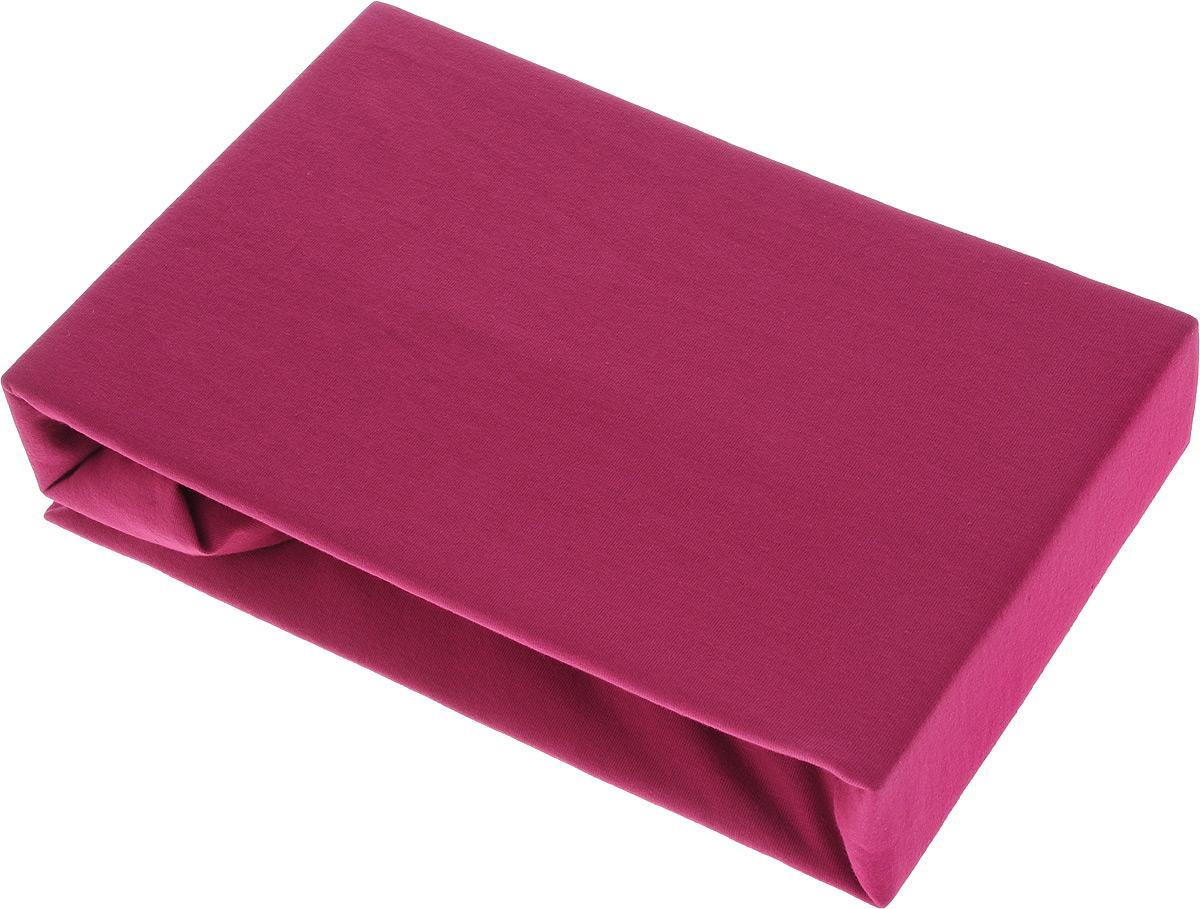Простыня на резинке ROKO, цвет: бирдовый, 90 х 200 см301_бордовыйПростыня ROKO, изготовленная из ткани кулирка (100% хлопок), будет превосходно смотреться с любыми комплектами белья в светлых оттенках. Хлопчатобумажный трикотаж по праву считается одним из самых качественных, прочных и при этом приятных на ощупь. Его гигиеничность позволяет использовать простыню и в детских комнатах, к тому же 100% хлопок в составе ткани не вызовет аллергии. У трикотажного полотна очень интересная структура, немного рыхлая за счет отсутствия плотного переплетения нитей и наличия особых петель, благодаря этому простыня ROKO отлично пропускает воздух и способствует его постоянной циркуляции. Простыня прошита резинкой по всему периметру, что обеспечивает более комфортный отдых, так как она прочно удерживается на матрасе и избавляет от необходимости часто ее поправлять. Плотность: 140 г/м2.