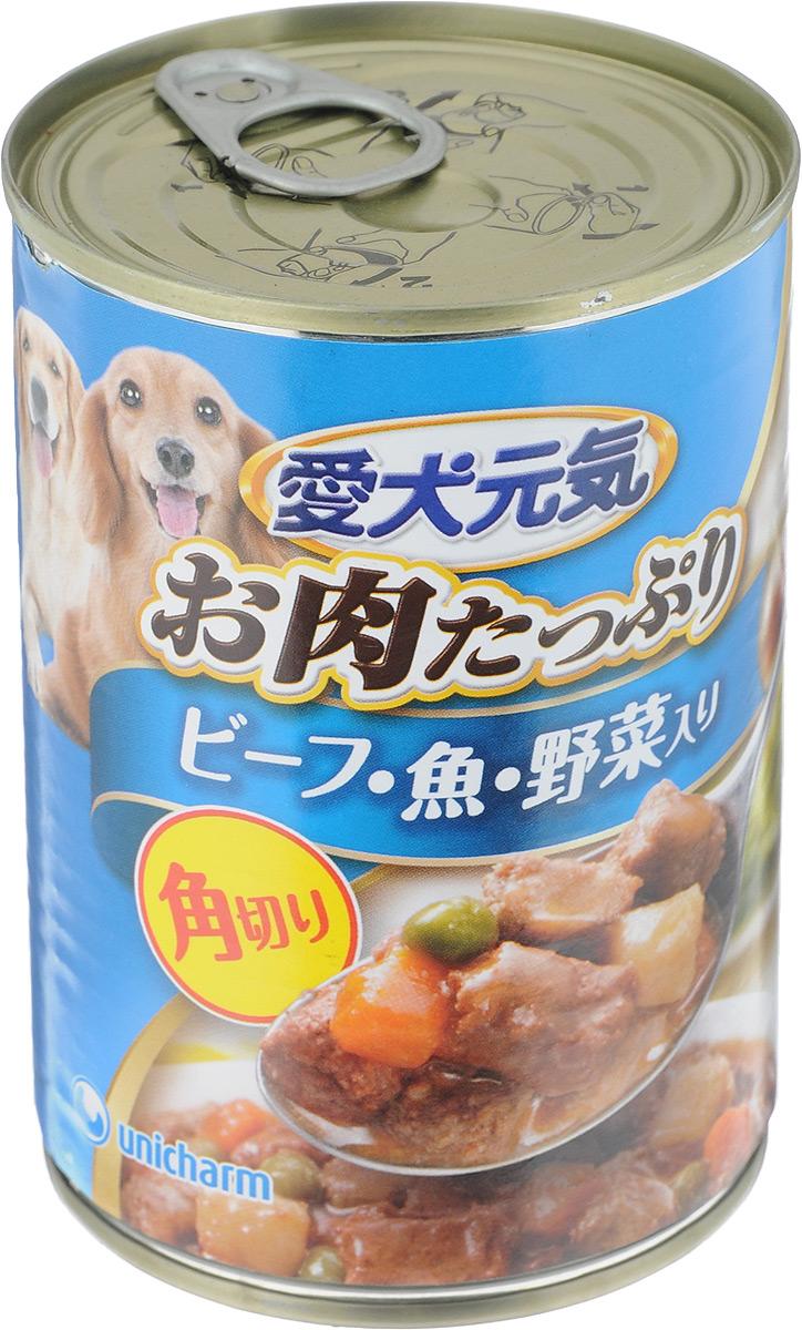 Консервы для собак Unicharm Aiken Genki , с говяжьим гуляшом, с рыбой и овощами, 400 г671306Консервы для собак Unicharm Aiken Genki - это сбалансированное высококачественное питание для собак. Аппетитные сочные кусочки говядины и овощей в тающем соусе произведены с сохранением всех свойств натуральных продуктов, содержат комплекс питательных веществ и микроэлементов, необходимых для полноценного развития вашего четвероногого друга. Корм полностью удовлетворяет ежедневные энергетические потребности взрослого животного и обеспечивает оптимальное функционирование пищеварительной системы. Состав: курица, говядина, куриный экстракт, морковь, картофель, зеленый горошек, тунец, пшеничная мука, приправа, глюкоза, ксилоза, витамины и минералы (В1, В2, В6, D, E, кальций, хлор, калий, натрий, фосфор), стабилизатор (гуаровая камедь), консервант (нитрит натрия), красители (диоксид титана, оксид железа), антиоксиданты. Пищевая ценность (на 100 г): белки - 5%, липиды - 4%, клетчатка - 1,5%, зола - 4%, влажность - 85%, энергетическая ценность 90 ккал. Товар...