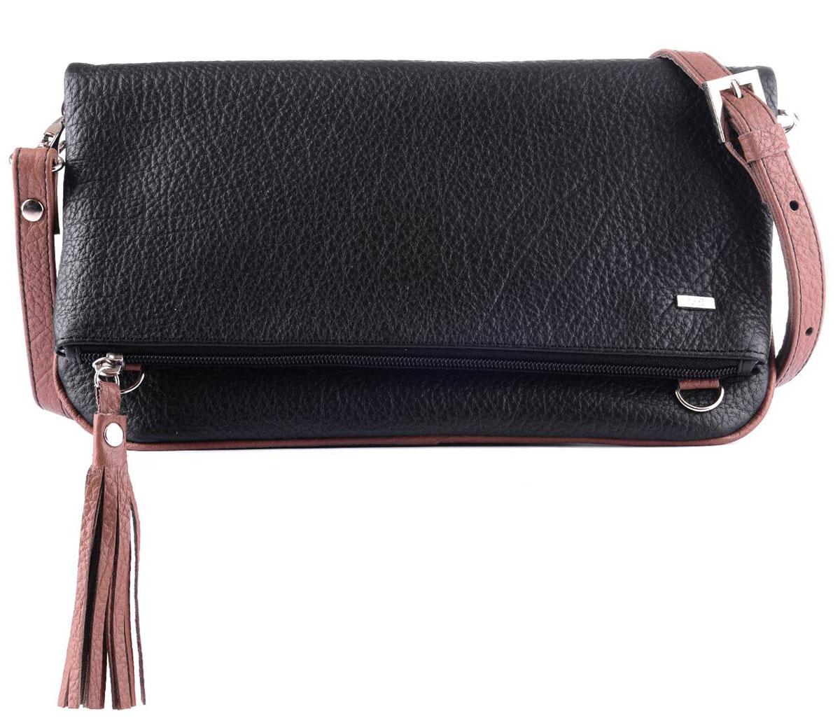Сумка женская Esse Лика Dark, цвет: черный, коричневый. GLIK2U-00ML09-FG701O-K100GLIK2U-00ML09-FG701O-K100Женская сумка Esse изготовлена из натуральной кожи. Сумка имеет одно отделение на молнии. На передней стенке скрытый карман на магнитных кнопках, на задней стенке карман на молнии. Внутри один открытый карман для мелочей. Длина ремня регулируется.