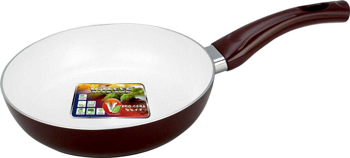 Сковорода Vitesse, с керамическим антипригарным покрытием. VS-2229VS-2229_коричневыйСКОВОРОДА 24 см Алюминий (2,5 мм), Внешнее цветное термостойкое покрытие Внутреннее керамическое антипригарное покрытие Eco-Cera Бакелитовая ручка Для всех типов плит, крoме индукционных Можно мыть в посудомоечной машине Цвет: синий / бордо Тип выкладки - Навеска Можно использовать металлическую лопатку