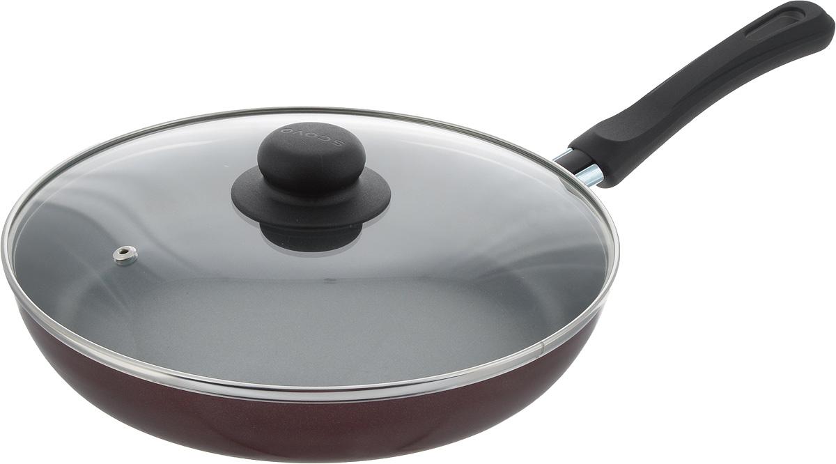 Сковорода Scovo Expert, с крышкой, с антипригарным покрытием. Диаметр 26 смСЭ-029Сковорода Scovo Expert выполнена из алюминия с антипригарным покрытием. Такое покрытие исключает прилипание и пригорание пищи к поверхности посуды, обеспечивает легкость мытья посуды, исключает необходимость использования большого количества масла, что способствует приготовлению здоровой пищи с пониженной калорийностью. Сковорода оснащена крышкой и удобной пластиковой ручкой. Крышка, выполненная из термостойкого стекла, позволяет следить за процессом приготовления, не открывая ее. Специальное отверстие для выхода пара предотвращает выкипание. Сковорода подходит для газовых, электрических и стеклокерамических плит. Также ее можно мыть в посудомоечной машине. Диаметр сковороды (по верхнему краю): 26 см. Длина ручки: 17,5 см. Высота стенки: 4 см.