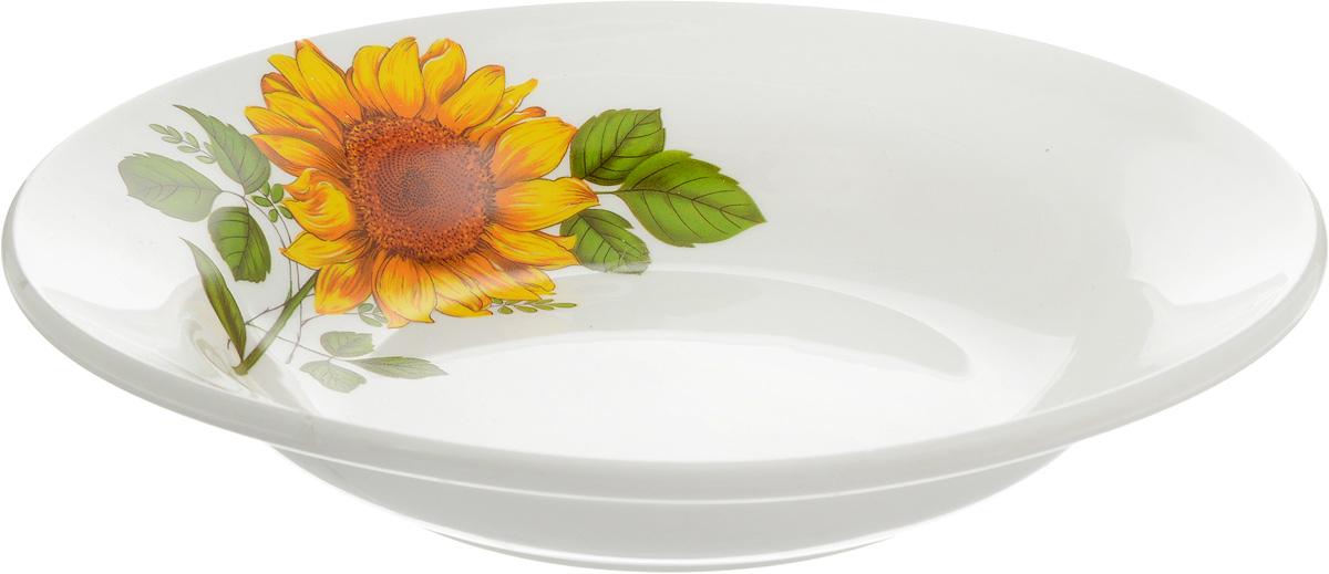 Тарелка глубокая Кубаньфарфор Подсолнух, диаметр 20 см. 055055_ПодсолнухГлубокая тарелка Кубаньфарфор Подсолнухи, изготовленная из фаянса с глазурованным покрытием, декорирована изображением подсолнуха. Такая тарелка украсит сервировку вашего стола и подчеркнет прекрасный вкус хозяина, а также станет отличным подарком.
