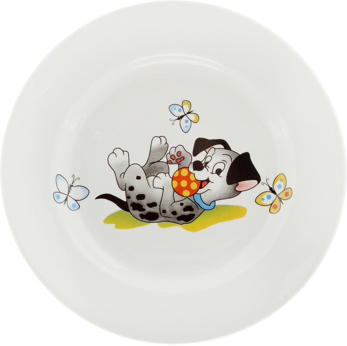 Тарелка десертная Кубаньфарфор Озорные щенки, диаметр 17,5 см057_Озорные щенкиДесертная тарелка Кубаньфарфор Озорные щенки, изготовленная из фаянса с глазурованным покрытием, декорирована изображением щенка. Такая тарелка украсит сервировку вашего стола и подчеркнет прекрасный вкус хозяина, а также станет отличным подарком.