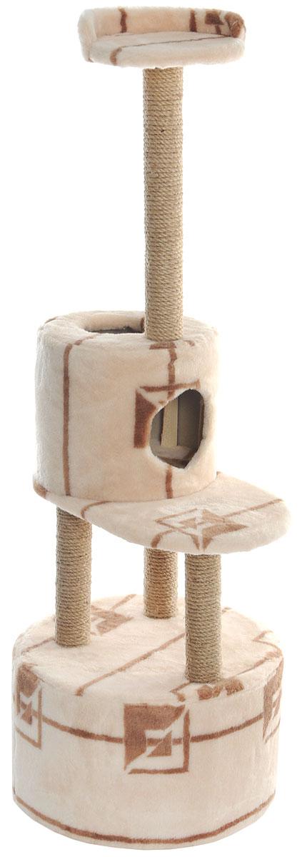Домик-когтеточка Меридиан, круглый, с площадкой и полкой, цвет: бежевый, коричневый, 55 х 50 х 147 смД551 ГДомик-когтеточка Меридиан выполнен из высококачественных материалов. Изделие предназначено для кошек. Оно включает в себя 2 домика разных размеров и 2 полки. Изделие обтянуто искусственным мехом, а столбики изготовлены из джута. Ваш домашний питомец будет с удовольствием точить когти о специальные столбики. Места хватит для нескольких питомцев. Домик-когтеточка Меридиан принесет пользу не только вашему питомцу, но и вам, так как он сохранит мебель от когтей и шерсти. Общий размер: 55 х 50 х 147 см. Размер большого домика: 50 х 50 х 29 см. Размер малого домика: 33 х 33 х 29 см. Размер нижней полки: 55 х 34 см. Размер верхней полки: 27 х 27 см.