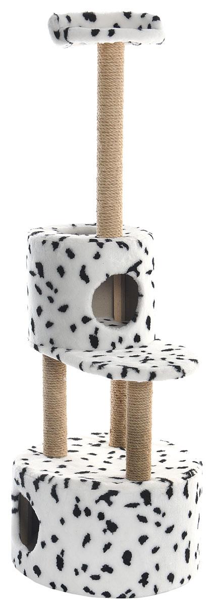 Домик-когтеточка Меридиан, круглый, с площадкой и полкой, цвет: белый, черный, бежевый, 55 х 50 х 147 смД551ДДомик-когтеточка Меридиан выполнен из высококачественных материалов. Изделие предназначено для кошек. Оно включает в себя 2 домика разных размеров и 2 полки. Изделие обтянуто искусственным мехом, а столбики изготовлены из джута. Ваш домашний питомец будет с удовольствием точить когти о специальные столбики. Места хватит для нескольких питомцев. Домик-когтеточка Меридиан принесет пользу не только вашему питомцу, но и вам, так как он сохранит мебель от когтей и шерсти. Общий размер: 55 х 50 х 147 см. Размер большого домика: 50 х 50 х 29 см. Размер малого домика: 33 х 33 х 29 см. Размер нижней полки: 55 х 34 см. Размер верхней полки: 27 х 27 см.