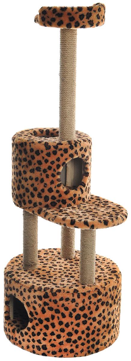 Домик-когтеточка Меридиан, круглый, с площадкой и полкой, цвет: коричневый, черный, бежевый, 55 х 50 х 147 смД551ЛеДомик-когтеточка Меридиан выполнен из высококачественных материалов. Изделие предназначено для кошек. Оно включает в себя 2 домика разных размеров и 2 полки. Изделие обтянуто искусственным мехом, а столбики изготовлены из джута. Ваш домашний питомец будет с удовольствием точить когти о специальные столбики. Места хватит для нескольких питомцев. Домик-когтеточка Меридиан принесет пользу не только вашему питомцу, но и вам, так как он сохранит мебель от когтей и шерсти. Общий размер: 55 х 50 х 147 см. Размер большого домика: 50 х 50 х 29 см. Размер малого домика: 33 х 33 х 29 см. Размер нижней полки: 55 х 34 см. Размер верхней полки: 27 х 27 см.