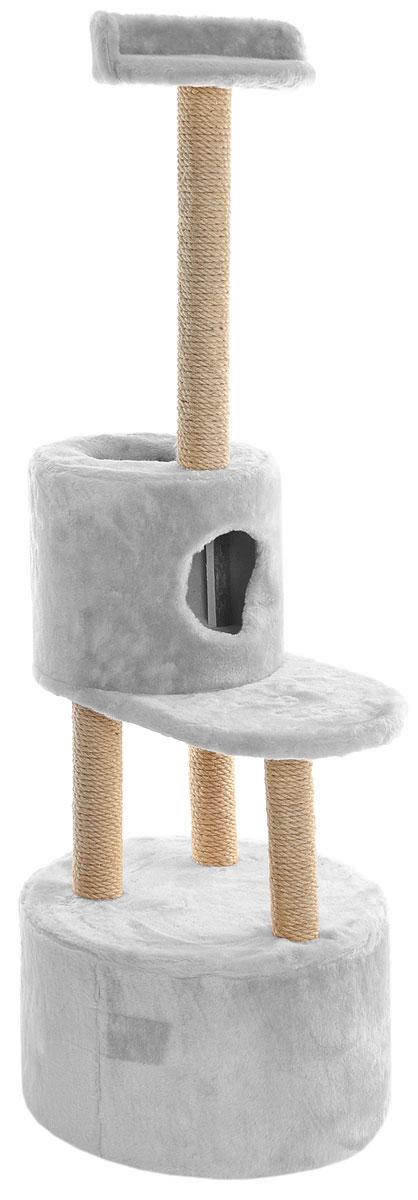 Домик-когтеточка Меридиан, круглый, с площадкой и полкой, цвет: светло-серый, бежевый, 55 х 50 х 147 смД551ССДомик-когтеточка Меридиан выполнен из высококачественных материалов. Изделие предназначено для кошек. Оно включает в себя 2 домика разных размеров и 2 полки. Изделие обтянуто искусственным мехом, а столбики изготовлены из джута. Ваш домашний питомец будет с удовольствием точить когти о специальные столбики. Места хватит для нескольких питомцев. Домик-когтеточка Меридиан принесет пользу не только вашему питомцу, но и вам, так как он сохранит мебель от когтей и шерсти. Общий размер: 55 х 50 х 147 см. Размер большого домика: 50 х 50 х 29 см. Размер малого домика: 33 х 33 х 29 см. Размер нижней полки: 55 х 34 см. Размер верхней полки: 27 х 27 см.