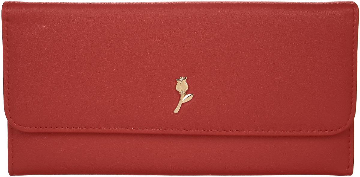 Кошелек женский Leighton, цвет: красный. D-22D-22 redСтильный женский кошелек Leighton выполнен из искусственной кожи и закрывается на кнопку. Подкладка кошелька изготовлена из полиэстера. Изделие содержит три отделения для купюр, карман для мелочи на молнии, один потайной карман, четыре кармана для пластиковых карт.
