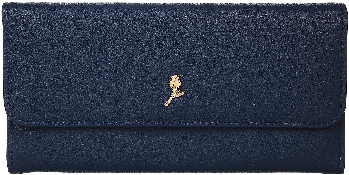 Кошелек женский Leighton, цвет: темно-синий. D-22D-22 blueСтильный женский кошелек Leighton выполнен из искусственной кожи и закрывается на кнопку. Подкладка кошелька изготовлена из полиэстера. Изделие содержит три отделения для купюр, карман для мелочи на молнии, один потайной карман, четыре кармана для пластиковых карточек.