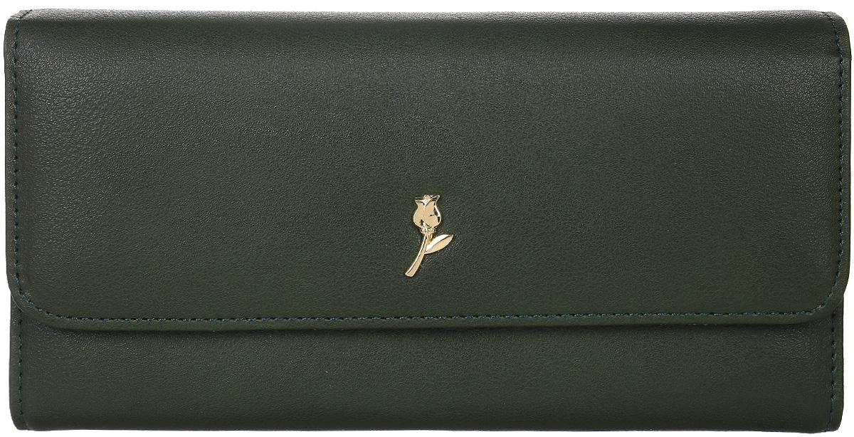 Кошелек женский Leighton, цвет: темно-зеленый. D-22D-22 greenЗакрывается на кнопку. Внутри три отделения для купюр, карман для мелочи на молнии, один потайной карман. Четыре кармана для пластиковыхх карточек.