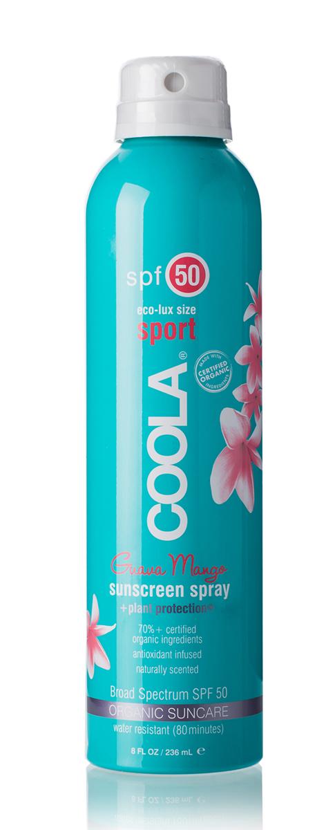 Coola Suncare Солнцезащитный спрей для лица и тела Гуава Манго SPF50 236 млCSS50GMLНа ходу распылите ваш прозрачный солнцезащитный спрей длительного действия с натуральным экстрактом гуавы и манго. Обладая высокой степенью защиты SPF 30, этот спрей будет питать, восстанавливать и увлажнять кожу за счет 97% содержащихся в нем, прошедших сертификацию, органических активных компонентов, таких как алоэ, огурец, морские водоросли, экстракт клубники и масло семян малины, натуральный солнцезащитный фактор и противовоспалительный компонент, богатый омегакислотами. Получайте удовольствие от пребывания на солнце вместе с COOLA.